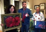 "Apprentice winners were: First, ""In Great grandma's Garden"" (acrylic) by Kathleen DesHotel, Second, ""Santa Claws"" (acrylic on crab shell) by André Rosselot; and Third, ""Sauci, the Fish"" (acrylic & gel) by Margie Huner"