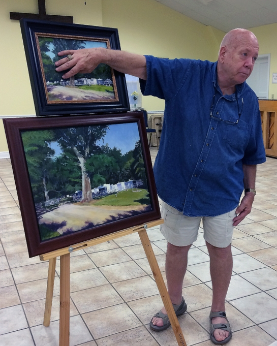 At the July Slidell Art League meeting, Len Heatherly gave a demonstration on making a canvas for painting in either acrylic or oil. He showed some of his works as examples of different sizes the art presentations. He then demonstrated how to begin with Masonite board to build the surface for the painting.