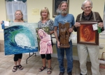 Master Winners: 1st Place - Ester Wyman - Wave - oil - $350, 2nd Place - Mary Christopher - The Teacher - oil - (Not for Sale), 3rd Place - Matt Monahan - The Protector - wood - $450, Honorable Mention - Richard Ray - Red Monk - oil - $300