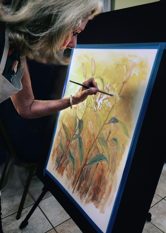 The presenter at the meeting was Peggy Hesse who demonstrated her technique of using oil paint and ink on oil paper.