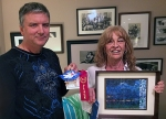 """The Artists of the month winners in the Apprentice Category were : first - """"Showy Iris"""" (mixed media) by Dolores Crain and second – """"Mr. Bingle"""" (painting on crab shell) by Andre Rosselot."""