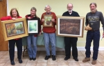 "In the Master Artist category, winners were first, ""Grace"" by Candace Page; second ""Gentle Green by Robin Miller-Bookhout (held by Elaine Mercer), third, ""Our Back Yard"" by Richard Ray; and a tie for honorable mention between John Kennedy with ""Dixie Spring"" and Matt Monahan with ""Mermaid."""
