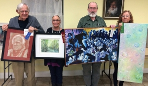 Master winners are: First - Richard Ray, Second - Robin Miller Bookhout, Third - John Kennedy holding Viki Kennedy's art, and Honorable Mention - Ester Wyman